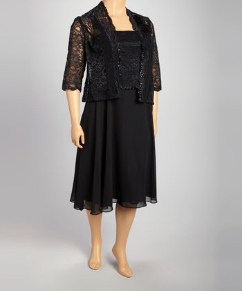 Black Lace Dress & Jacket - Plus