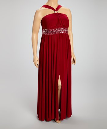 Apple Gathered Ring Maxi Dress - Plus