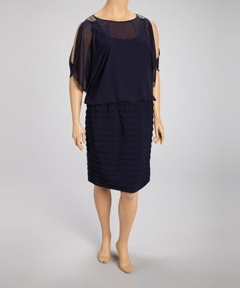 Navy Embellished Blouson Dress - Plus