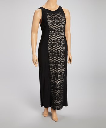 Black Lace Panel Maxi Dress - Plus
