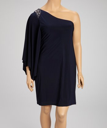 Navy Embellished Asymmetrical Dress - Plus