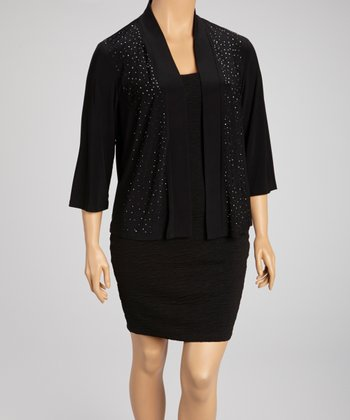 Black Rhinestone Open Cardigan - Plus
