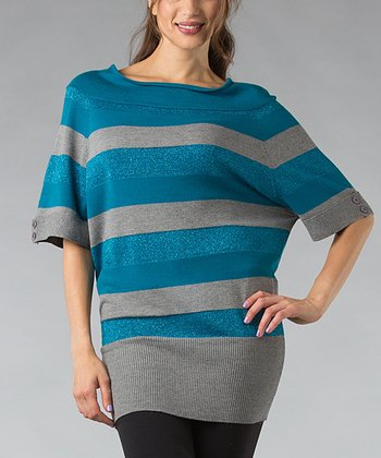Blue & Gray Stripe Wool-Blend Dolman Tunic