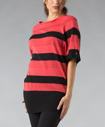 Pink & Black Stripe Wool-Blend Dolman Tunic