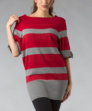 Red & Gray Stripe Wool-Blend Dolman Tunic