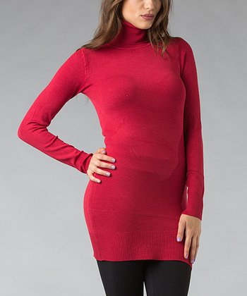 Red Turtleneck Tunic