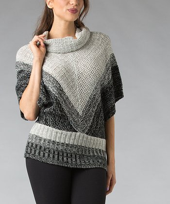 Charcoal Chevron Wool-Blend Cape-Sleeve Sweater