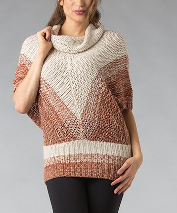 Copper Chevron Wool-Blend Cape-Sleeve Sweater