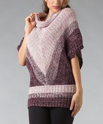 Purple Chevron Wool-Blend Cape-Sleeve Sweater