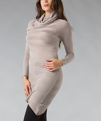 Taupe Stripe Cowl Neck Tunic