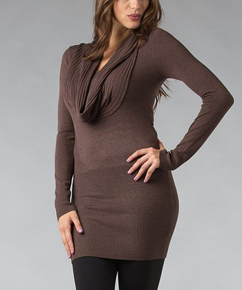 Mocha Ribbed Cowl Neck Tunic