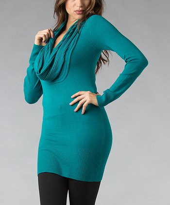 Turquoise Ribbed Cowl Neck Tunic