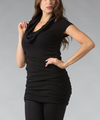 Black Ruched Cowl Neck Tunic