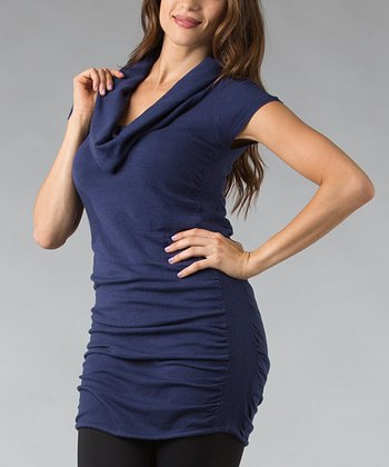 Blue Ruched Cowl Neck Tunic