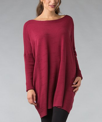 Burgundy Ribbed Boatneck Tunic