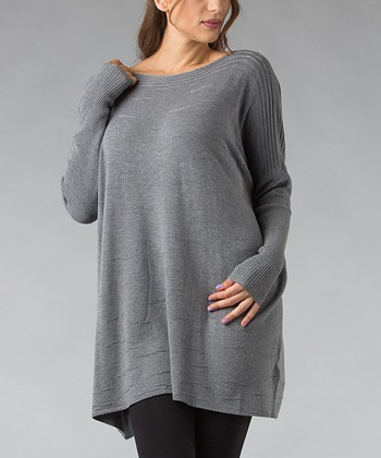 Heather Gray Ribbed Boatneck Tunic