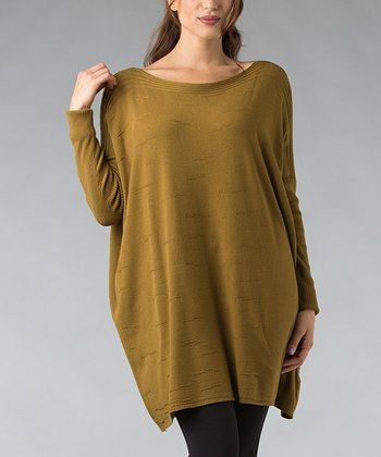 Olive Ribbed Boatneck Tunic