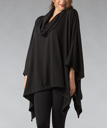 Black Cowl Neck Poncho