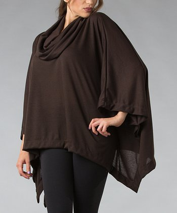 Brown Cowl Neck Poncho