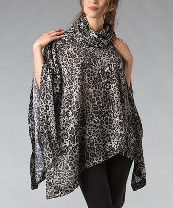 Gray Animal Cowl Neck Poncho