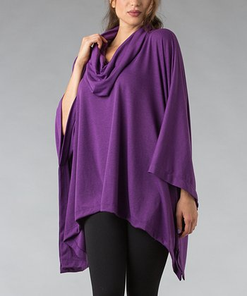 Purple Cowl Neck Poncho