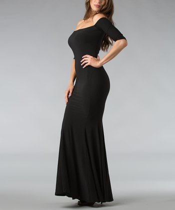 Black Off-Shoulder Maxi Dress