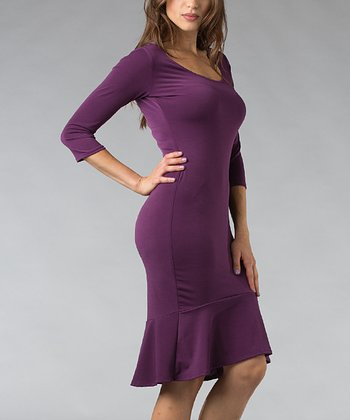 Eggplant Fitted Scoop Neck Dress
