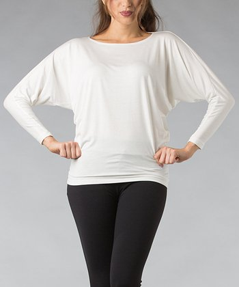 White Dolman Top
