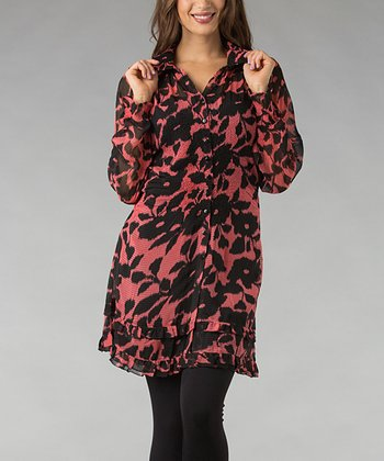 Pink & Black Floral Tiered Ruffle Button-Up Tunic