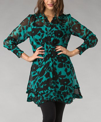 Turquoise & Black Floral Tiered Ruffle Button-Up Tunic