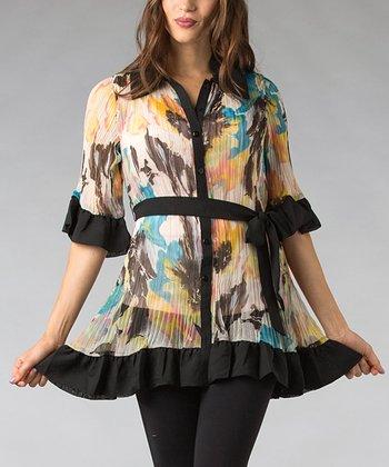 Orange & Blue Floral Pleated Button-Up Tunic