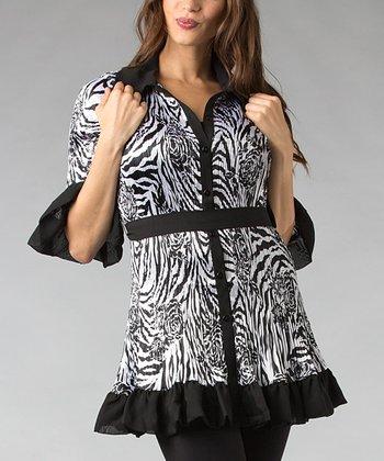 Black & White Zebra Pleated Button-Up Tunic