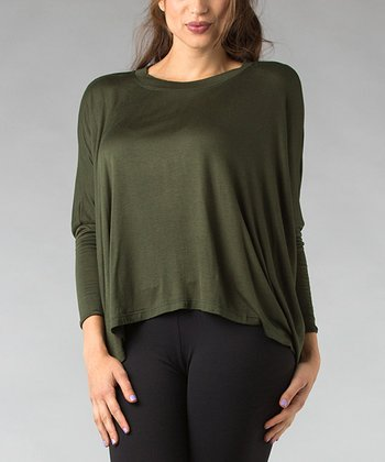 Green Sidetail Dolman Top