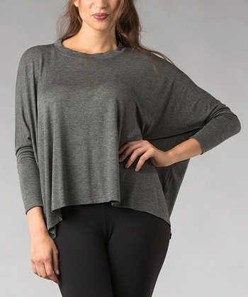 Gray Sidetail Dolman Top