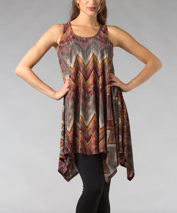 Red & Gold Zigzag Sleeveless Tunic