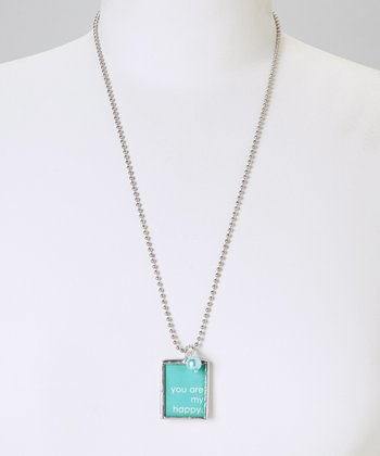 Silver 'You Are My Happy' Pendant Necklace