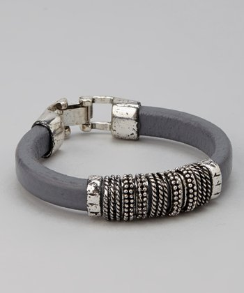 Silver & Gray Textured Leather Bracelet