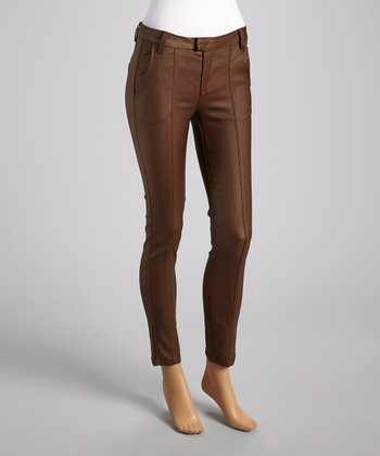 Brown Sheen Cigarette Pants