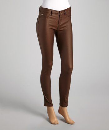 Brown Sheen Skinny Pants