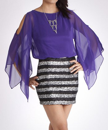 Purple & Black Sequin Stripe Cape-Sleeve Dress