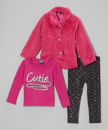 Pink & Black 'Cutie' Faux Fur Jacket Set - Infant & Toddler