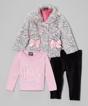 Pink & Gray Zebra Faux Fur Jacket Set - Infant