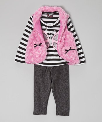 Black & Pink Butterfly Faux Fur Vest Set - Infant & Toddler
