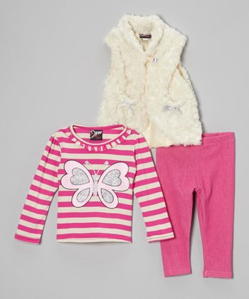 Pink & White Butterfly Faux Fur Vest Set - Infant & Toddler