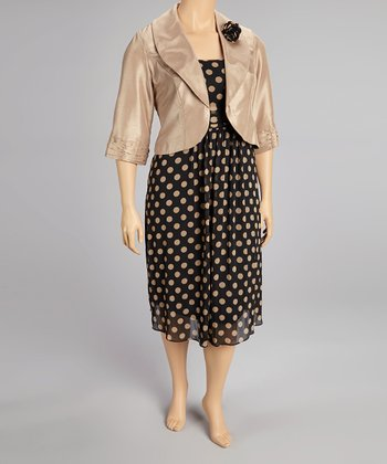 Champagne & Black Polka Dot Dress & Jacket - Plus