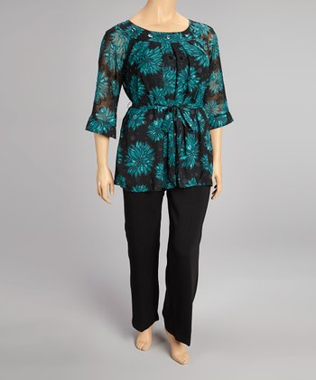 Jade Floral Three-Quarter Sleeve Top & Pants - Plus