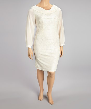 Ivory Lace Cowl Neck Dress - Plus