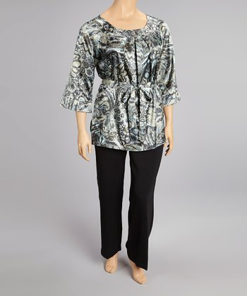 Gray Floral Tapestry Three-Quarter Sleeve Top & Pants - Plus