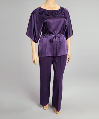 Eggplant Embroidered Angel-Sleeve Top & Pants - Plus