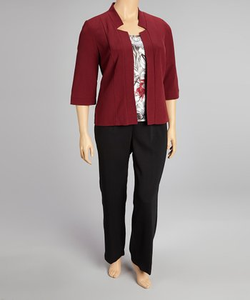 Burgundy Blazer Set - Plus